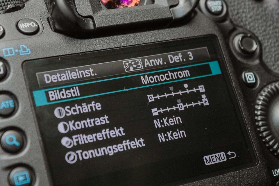 Ansicht der Bildstile im Kameramenü schwarz weiß Fotografie Tipps