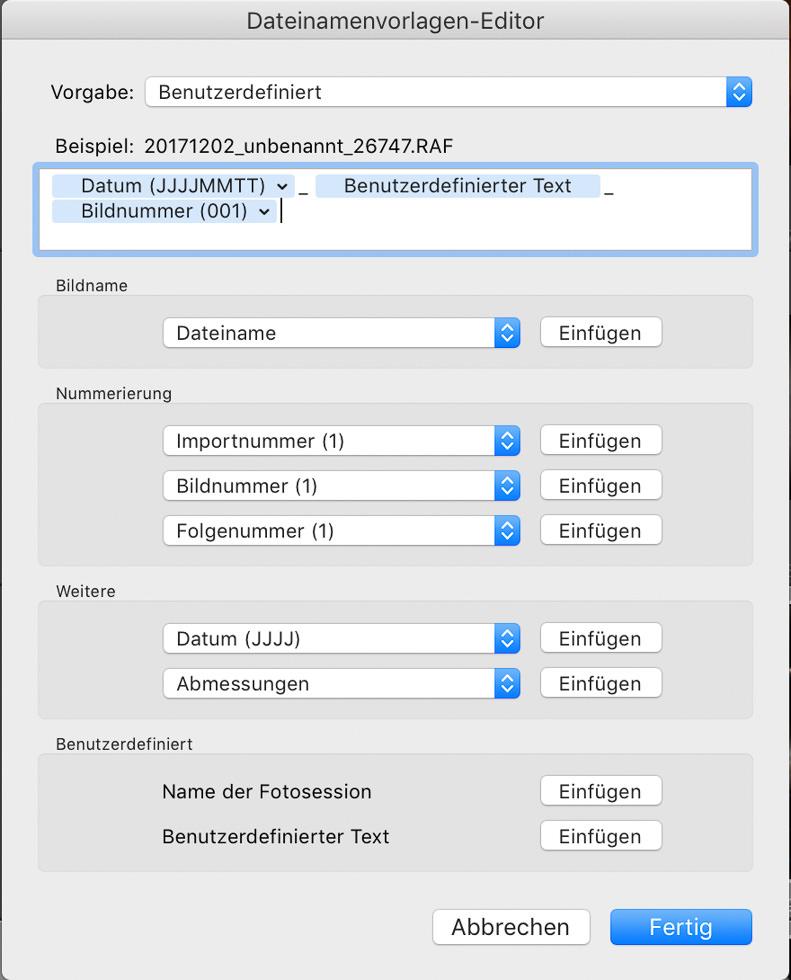 Benutzerdefinierte Datei-Umbenennung beim Lightroom Import