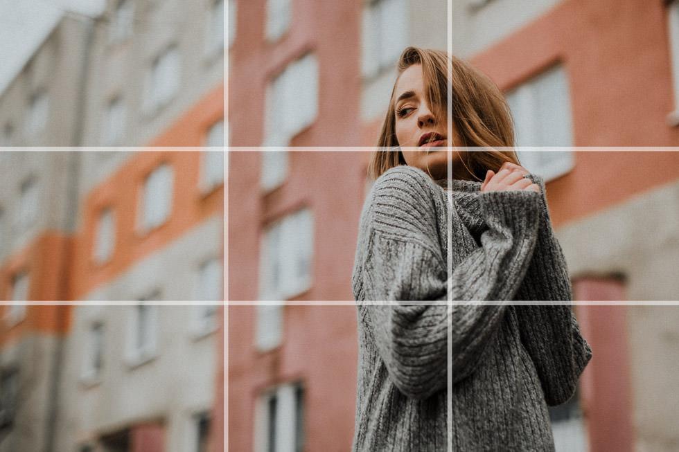 Portrait Aufteilung nach der Bildgestaltung nach Drittel Regel