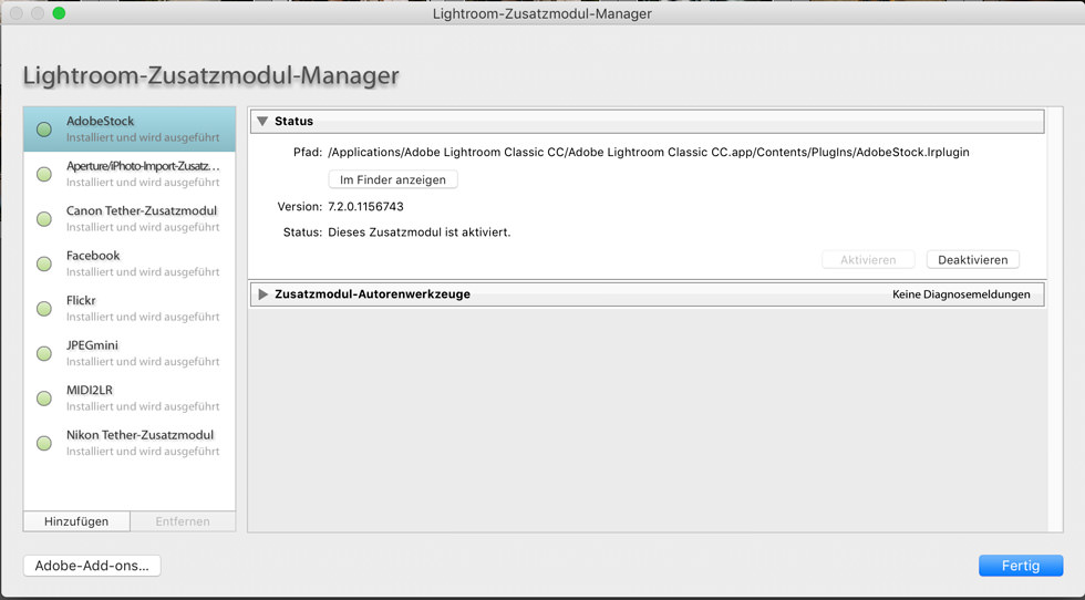 Lightroom Plugins installieren
