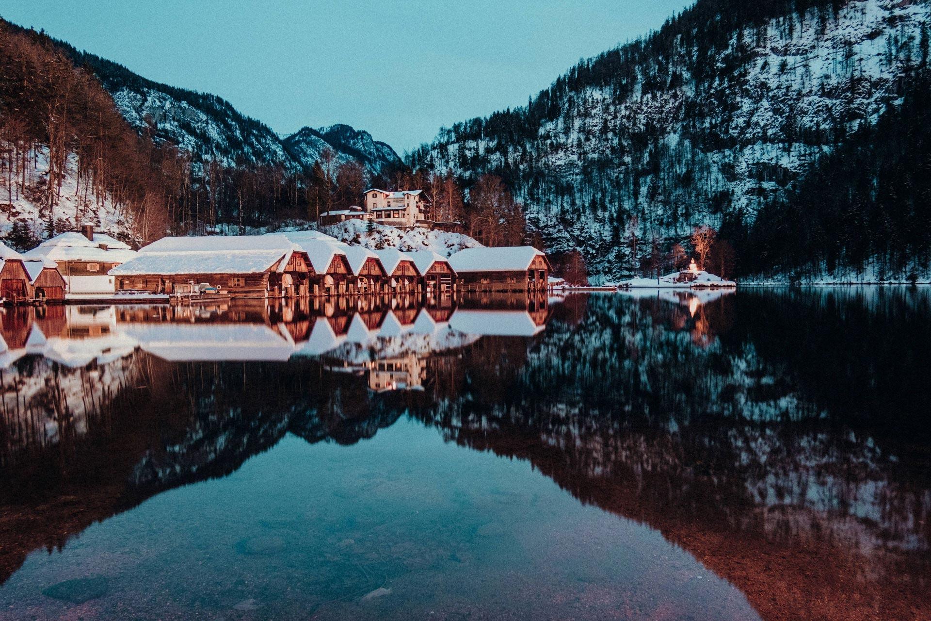 Königssee bei Nacht im Winter