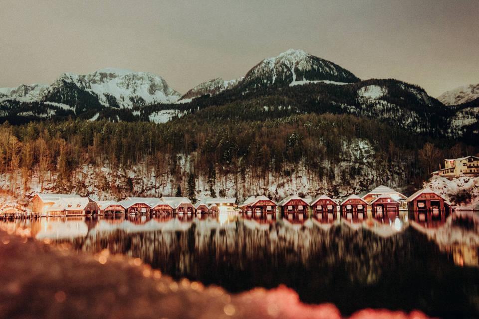 Der Königssee bei Nacht im Winter