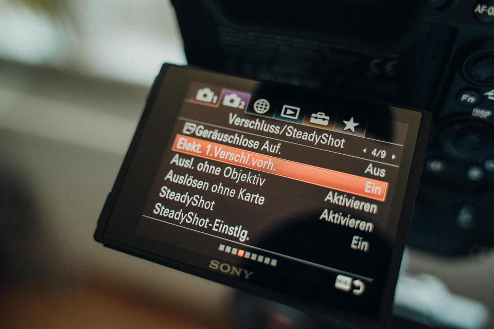 Sony Streifen im Bild und der 1. elektr. Verschluss Vorhang