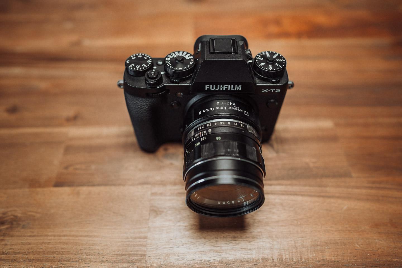 Fujifilm mit Objektiv Adapter von analog auf digital