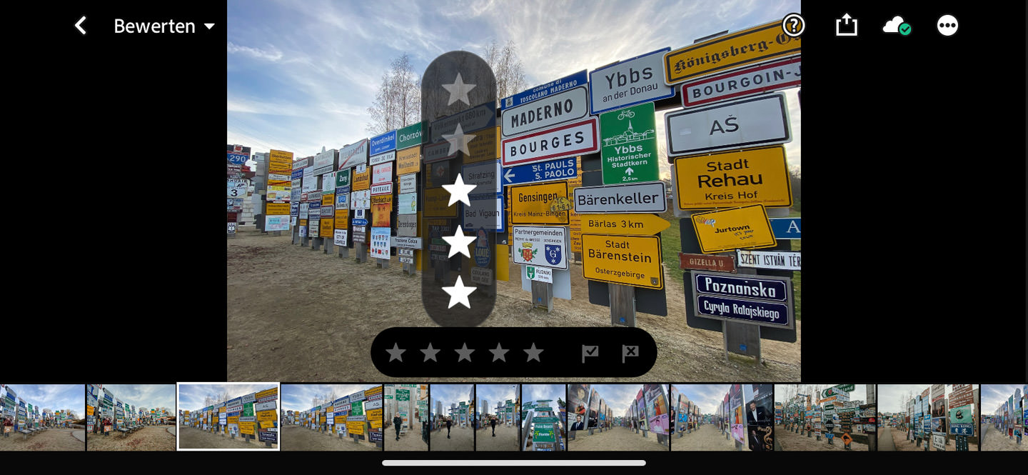 Bilder Bewerten in Lightroom Mobile